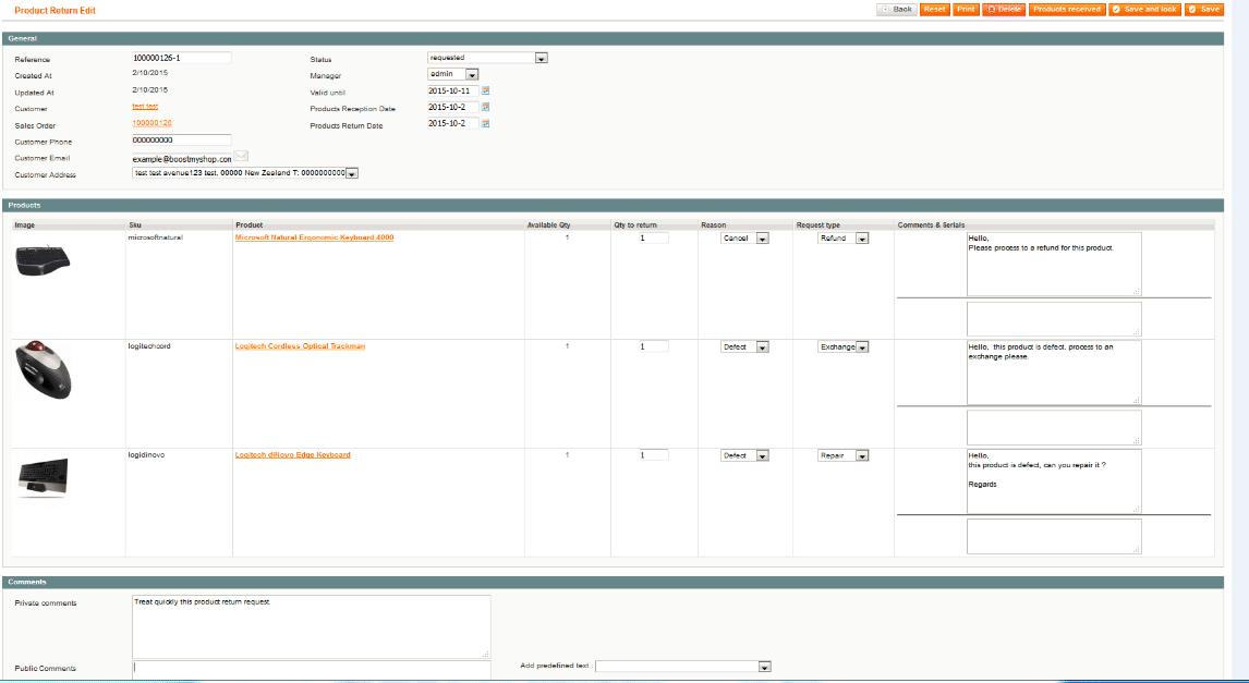 screen magento Product return 1