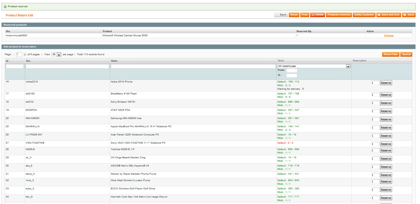 screen magento Product return 3