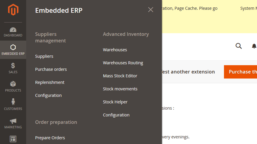 embedded erp magento 2 features menu
