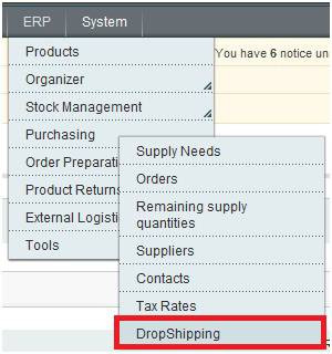 Magento Dropshipping Extension menu