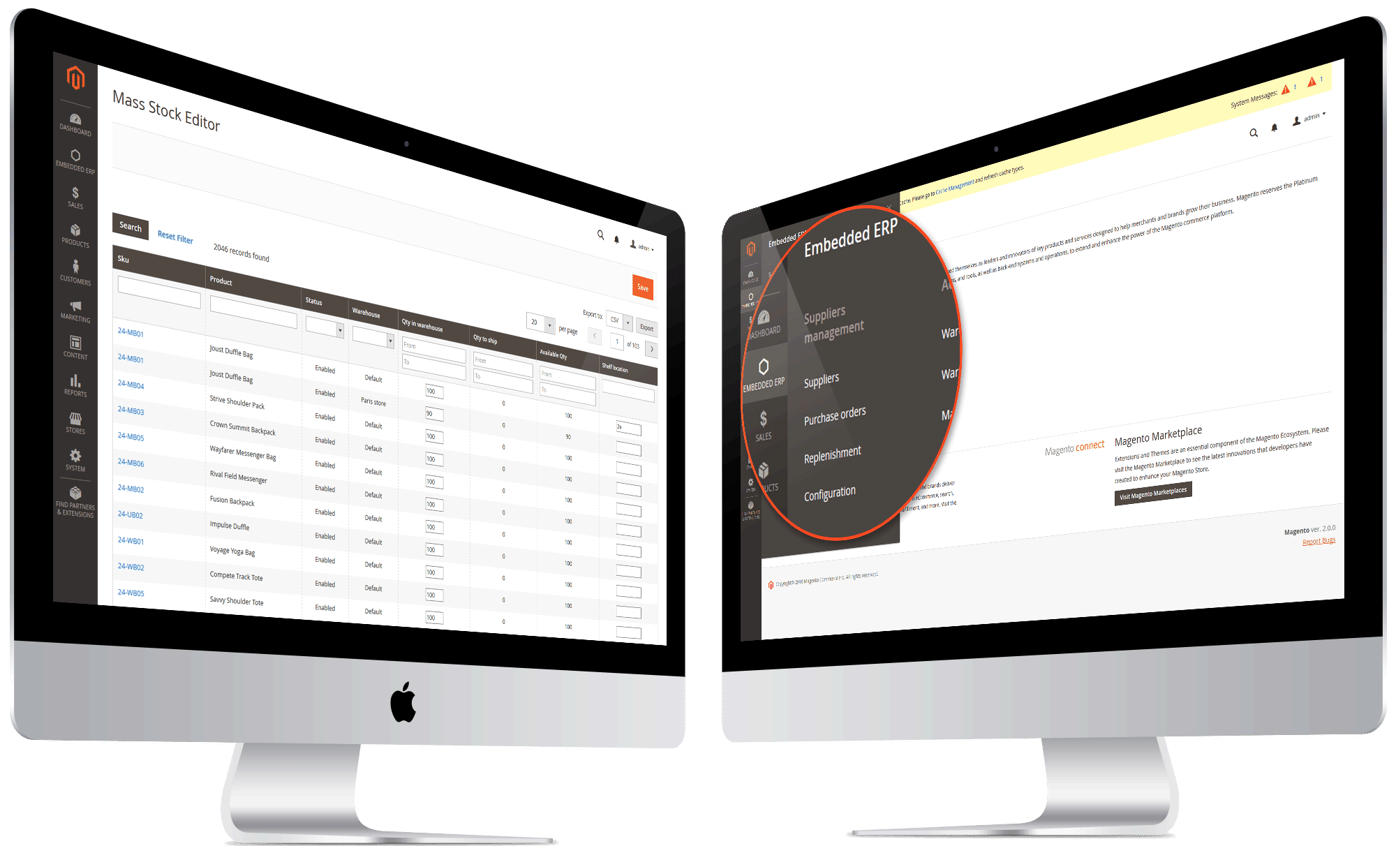 embedded erp magento 2 features double screen