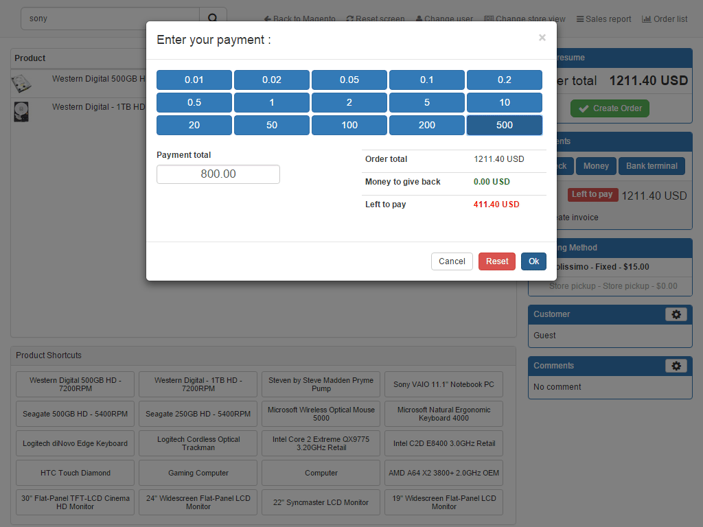 ePos POS Point of sales Extension Magento screen 2