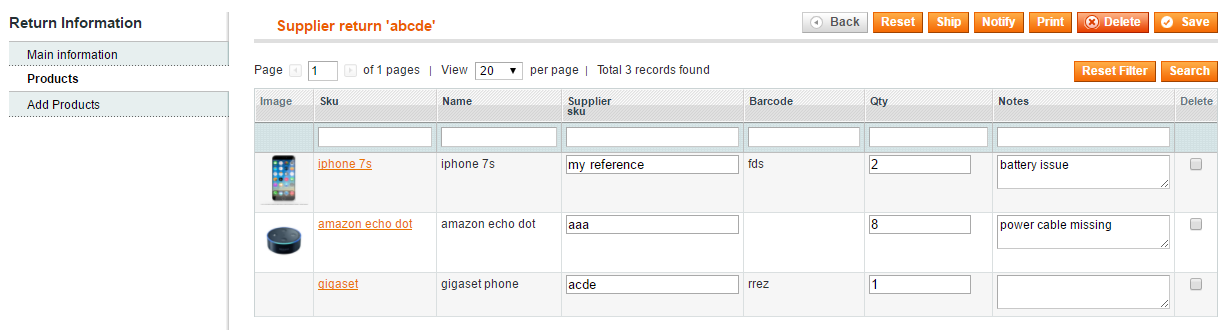 Supplier Return Return to vendor Magento plugin