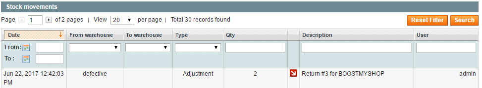 Supplier Return Return to vendor Magento extension